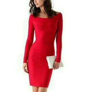 """Herve Leger """"Candice"""" Lip Stick Red XXS Dress"""